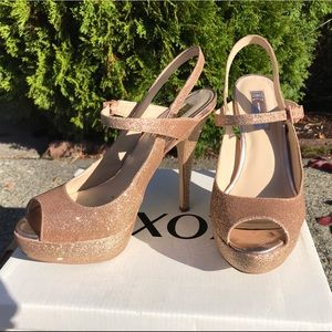 Gold INC sparkle platform stiletto heels